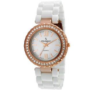 Peugeot Women's Rose Goldtone Crystal Bezel White Acrylic Watch