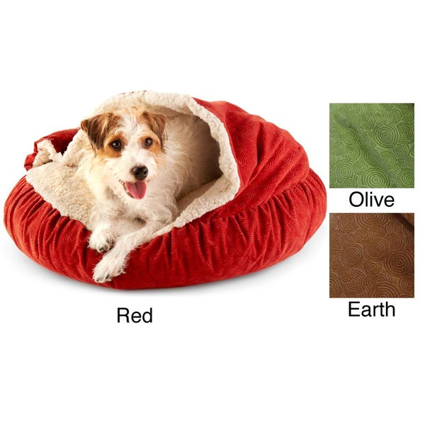 Spiro Embossed Micro Velvet Round Burrow Pet Bed Free