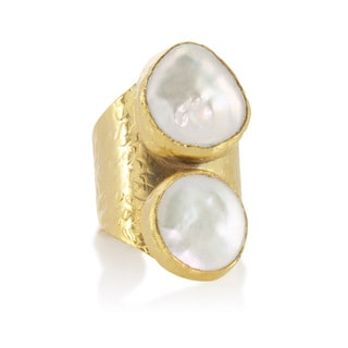 American Coin Treasures Double Pearl Adjustable Ring