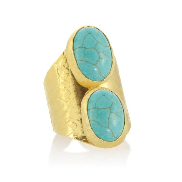 American Coin Treasures Gold Howlite Cab Turquoise Color Cigar Ring