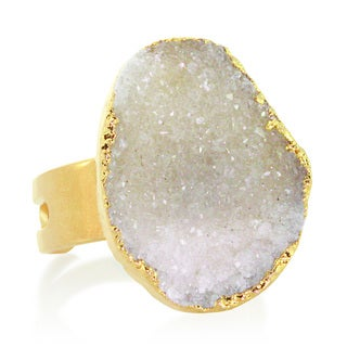 American Coin Treasures Adjustable Druzy Quartz Ring