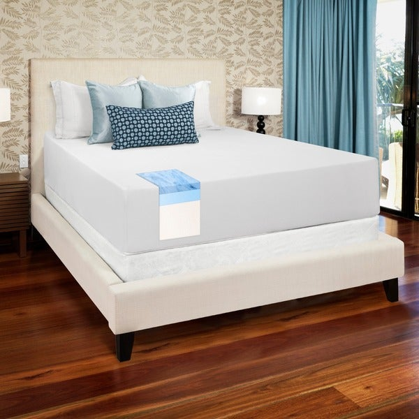 select luxury 14 inch full size medium firm gel memory foam mattress and foundation set free. Black Bedroom Furniture Sets. Home Design Ideas