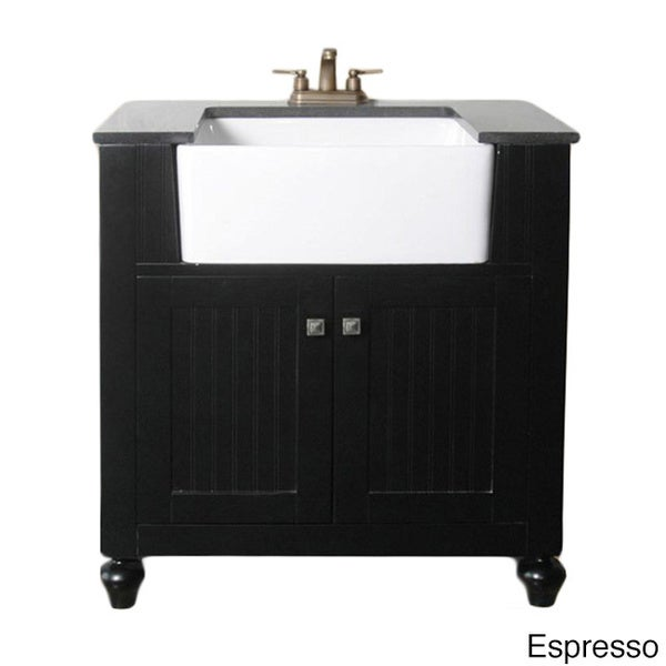 granite top 30-inch farmhouse apron style single-sink bathroom