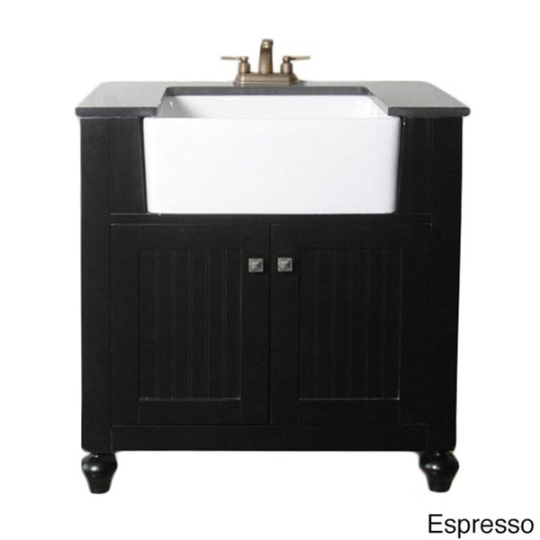 Lovely Legion Furniture 30 Inch Bathroom Vanity Farmhouse Apron Style Single Sink  With Granite Top