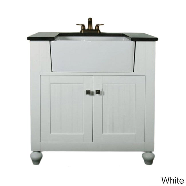 Legion Furniture 30 Inch Bathroom Vanity Farmhouse Apron Style Single Sink  With Granite Top