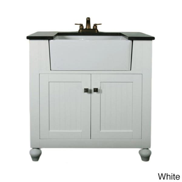 Legion Furniture 30 Inch Bathroom Vanity Farmhouse Apron Style Single Sink With Granite Top Overstock 8549795 N A White