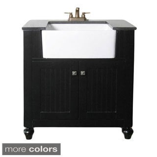 Granite Top 30-inch Farmhouse Apron Style Single-sink Bathroom Vanity
