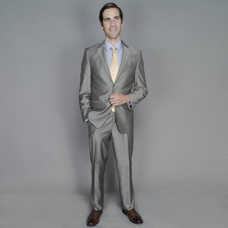 Men's Taupe Sharkskin 2-button Suit