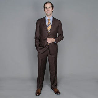 Solid Brown 2-Button Wool and Silk Blend Suit