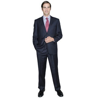 Solid Navy 2-Button Wool and Silk Blend Suit