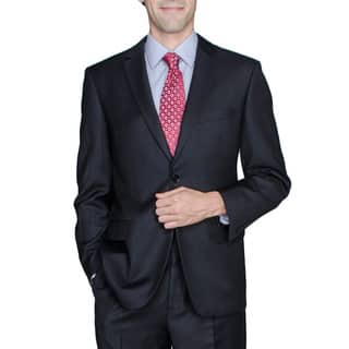 Solid Black 2-Button Wool and Silk Blend Suit