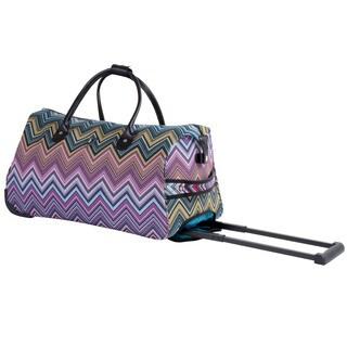 Calpak Soho Pink Chevron 21-inch Carry On Rolling Upright Duffel Bag