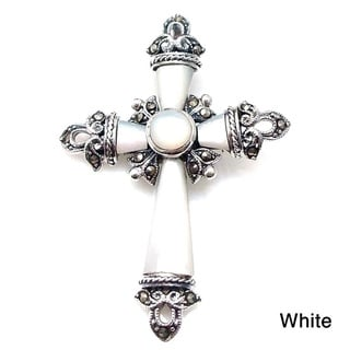 Vintage Stone Inlaid Cross Marcasite .925 Silver Pendant (Thailand)
