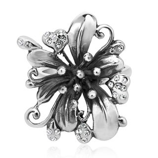 Gorgeous Lily Flower White Cubic Zirconia .925 Silver Ring (Thailand)