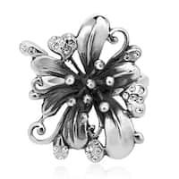 Handmade Gorgeous Lily Flower White Cubic Zirconia .925 Sterling Silver Ring (Thailand)