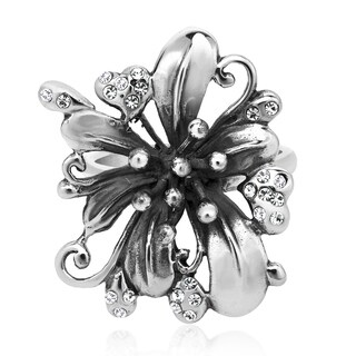 Handmade Gorgeous Lily Flower White Cubic Zirconia .925 Sterling Silver Ring (Thailand) (5 options available)