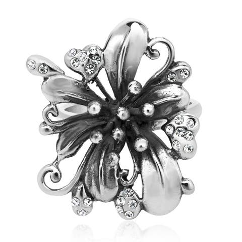 Handmade Gorgeous Lily Flower White Cubic Zirconia Sterling Silver Ring (Thailand)