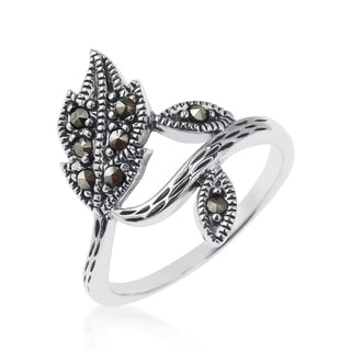 Handmade Dazzling Wrap Around Leaf Marcasite Sterling Silver Ring (Thailand)