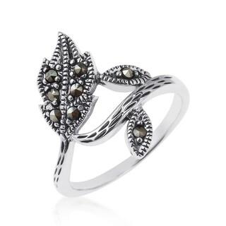 Handmade Dazzling Wrap Around Leaf Marcasite Sterling Silver Ring (Thailand)