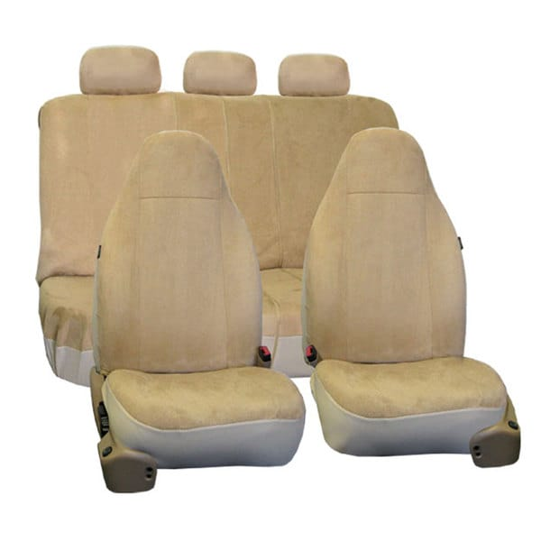 fh group beige suede car seat covers front high back buckets and split bench full set free. Black Bedroom Furniture Sets. Home Design Ideas