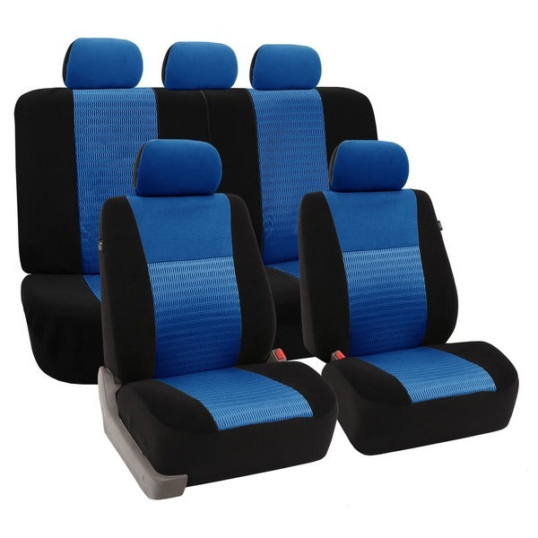 FH Group Blue 'Trendy Elegance' Airbag Compatible Car Seat Covers (Full Set)