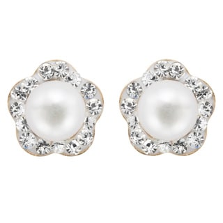 Pearlyta 14k Children Freshwater Pearl Cubic Zarconia Flower Stud Earring with Gift Box