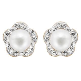 Pearlyta 14k Children Freshwater Pearl Cubic Zarconia Flower Stud Earring with Gift Box|https://ak1.ostkcdn.com/images/products/8549966/P15828228.jpg?impolicy=medium