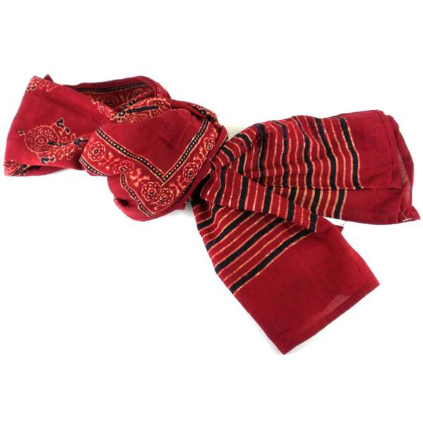 Handmade Printed Cotton Voile Stole - Red (India)