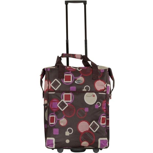 Calpak Big Eazy Pink Geo 20-inch Washable Rolling Shopping Tote Bag