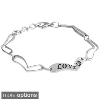 Engraved Heart Bracelet in Stainless Steel