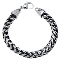 Stainless Steel Franco Chain Bracelet with Black Plating Accent