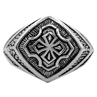 Sterling Silver Knight Cross Ring with Black Ionic Plating Accent