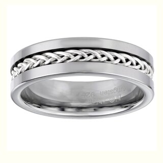 Sterling Silver and Tungsten Ring with Braided Inlay Design