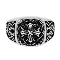 Stainless Steel Ring with Gothic Cross Design and Black Ionic Plating Accent