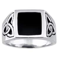 Celtic Knot Design Stainless Steel Ring with Black Resin Center