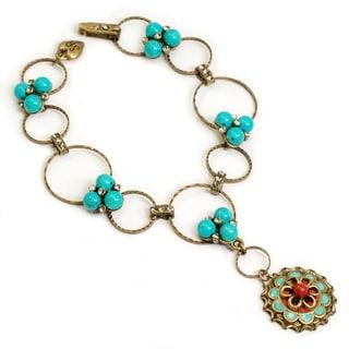Sweet Romance Turquoise Enamel Concho Bohemian Charm Bracelet