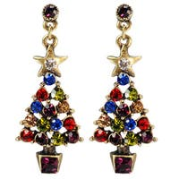 Sweet Romance Christmas Tree Retro Crystal Earrings