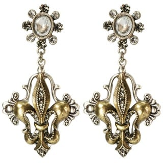 Sweet Romance Vintage French Fleur De Lis Crystal and Pearl Earrings