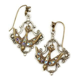 Sweet Romance Crystal Flying Bird Vintage Earrings