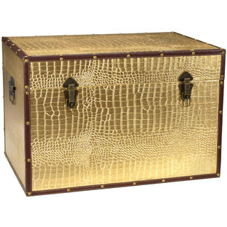 Faux Leather Gold Crocodile Trunk