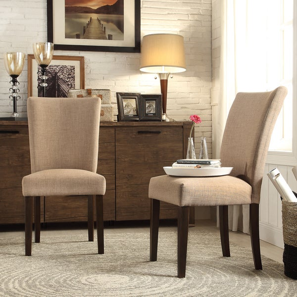 Inspire q catherine tan linen parsons dining chair set of for Inspire q dining room chairs