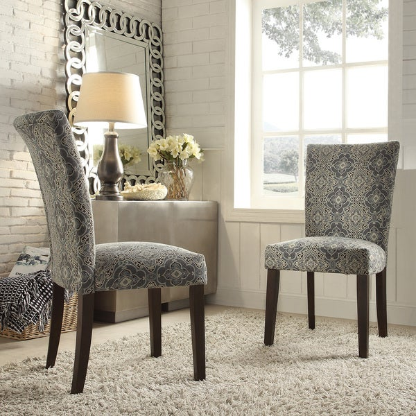 Inspire q catherine blue damask parsons dining chair set for Inspire q dining room chairs