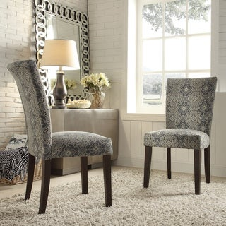 INSPIRE Q Catherine Blue Damask Parsons Dining Chair (Set of 2)