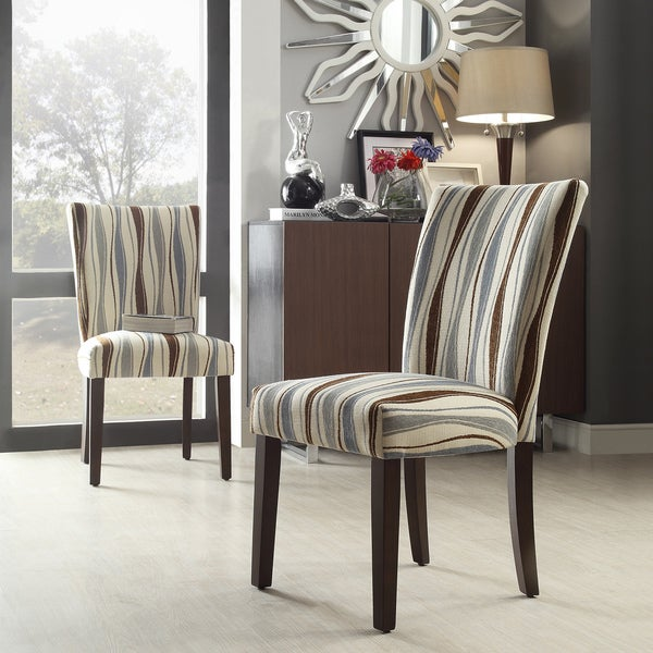 Inspire q catherine vertical wavy stripe parsons dining for Inspire q dining room chairs
