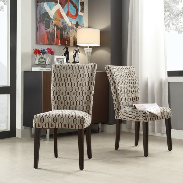 Inspire q catherine mocha honeycomb parsons dining chair for Inspire q dining room chairs