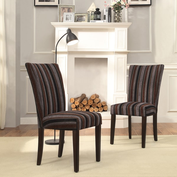 Inspire q catherine dark tonal stripe parsons dining chair for Inspire q dining room chairs