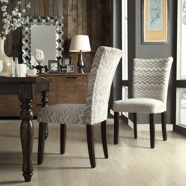 Inspire q catherine grey chevron parsons dining chair set for Inspire q dining room chairs
