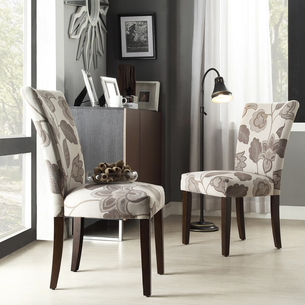 Inspire q catherine grey floral parsons dining chair set for Inspire q dining room chairs