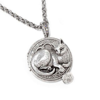 Sweet Romance Cat Locket Long Chain Necklace