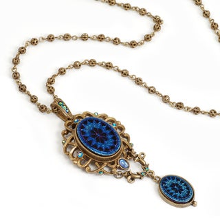 Sweet Romance Vintage Peacock Glass Iridescent Blue Filigree Chain Necklace